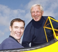 Blue Angel pilot, LCDR Tom Winkler with Tom Lowe after their