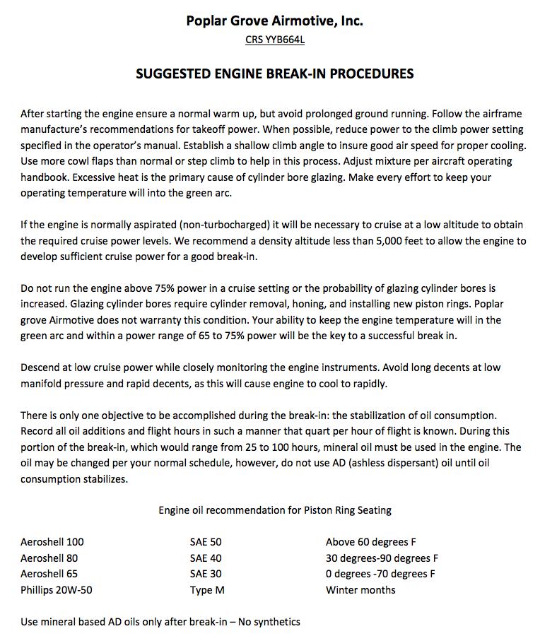 engine break in procedures image