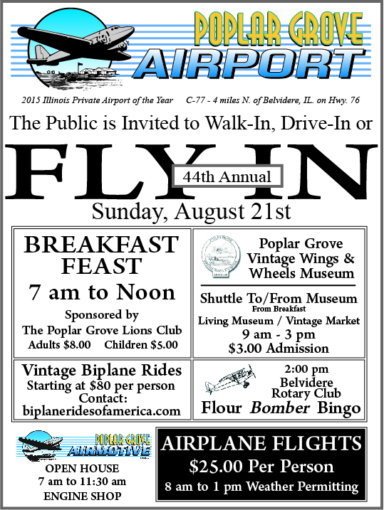 Poplar Grove Airport 44th Annual Fly-In Sunday August 21st